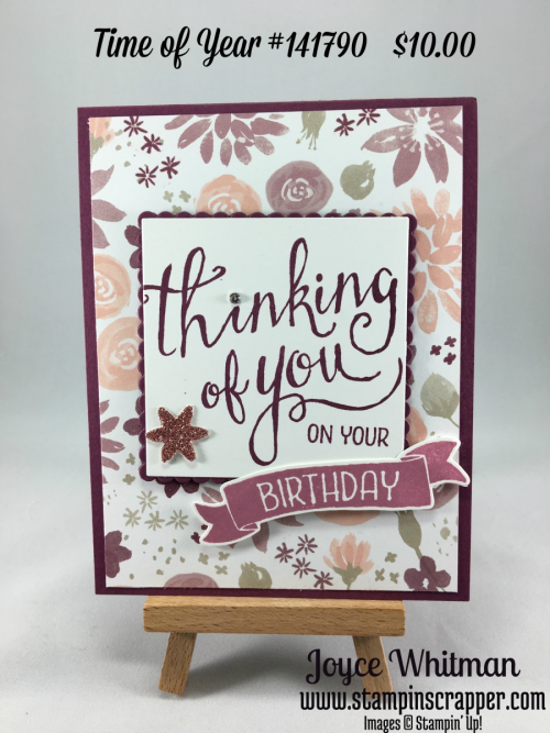 stampin up, Stampin' Up! Time of Year #141790, Blooms and Bliss Designer Series Paper #141654, esigned by Stampin Scrapper, please see more card and gift ideas at stampinscrapper.com