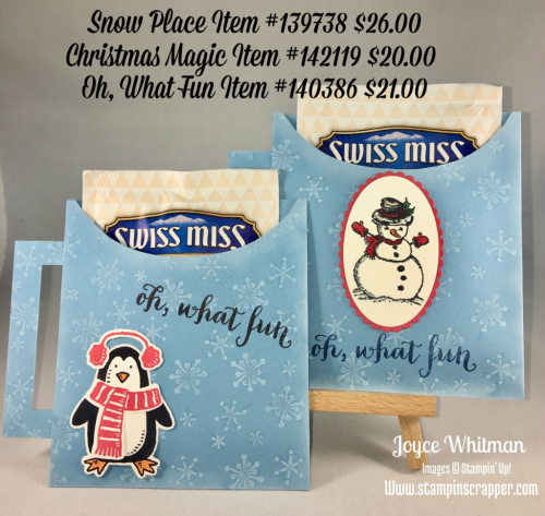 stampin up, Stampin' Up! Snow Place stamp set #139738, Christmas Magic #142119, Oh, What Fun #140386, Hot Chocolate Holder, Snow Friends Framelits #141490, Layering Oval Framelits #141705, Layering Squares Framelits #1414708, created by Stampin Scrapper, for more gifts, cards, scrapbooking, and 3D Project ideas go to stampinscrapper.com