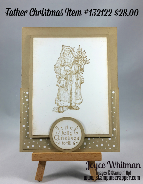 "stampin up, Stampin"" Up! Father Christmas #132122, Peace This Christmas #141570, Candy Cane Lane Designer Series Paper #141981, 1/2"" circle punch #119869, 1 1/4 circle Punch #138299, 2"" circle Punch #133782, created by Stampin Scrapper, for more ideas for gifts, cards, scrapbooking and 3 D projects go to stampinscrapper.com"