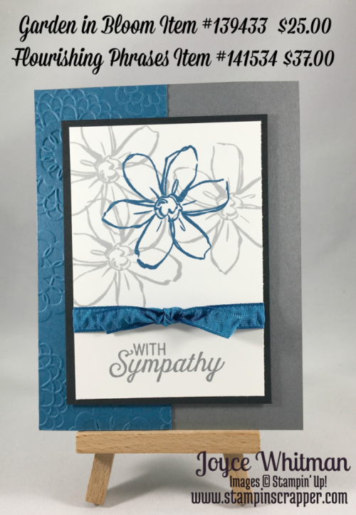 """stampin up, Stampin"""" Up! Garden in Bloom #139433, Flourishing Phrases #141534, Lovely Lace Embossing Folder #13373,  3/8"""" Ruched Ribbon #141424, created by Stampin Scrapper, for more ideas, cards, gifts, scrapbooking, 3D projects go to stampinscrapper.com"""