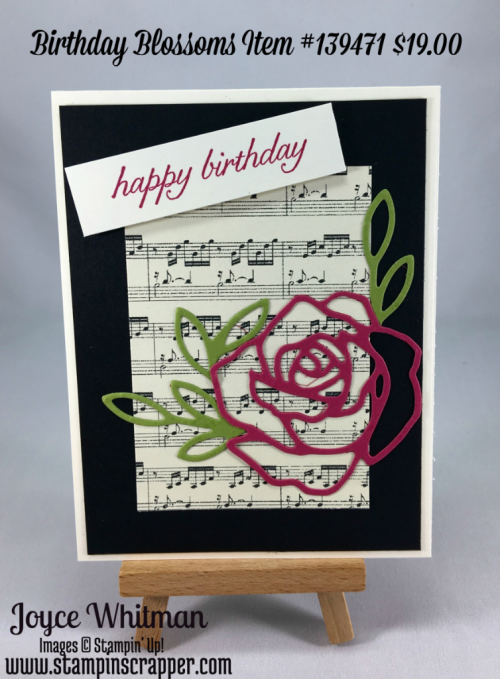 stampin up, Stampin' Up! Birthday Blooms, This Christmas Specialty Designer Series Paper #141628, Rose Garden thinlits #140619, created by Stampin Scrapper, for more ideas, cards, gifts, scrapbooking and 3D projects go to stampinscrapper.com
