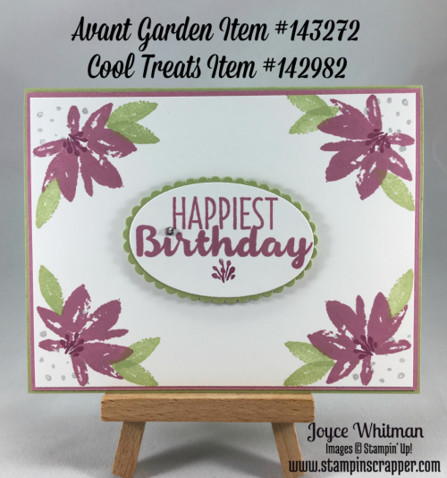 stampin up, Stampin' Up! Avant Garden #143272, Cool Treats #142982, designed by Stampin Scrapper, for more cards, gifts, ideas, scrapbooking and 3D projects go to stampinscrapper.com