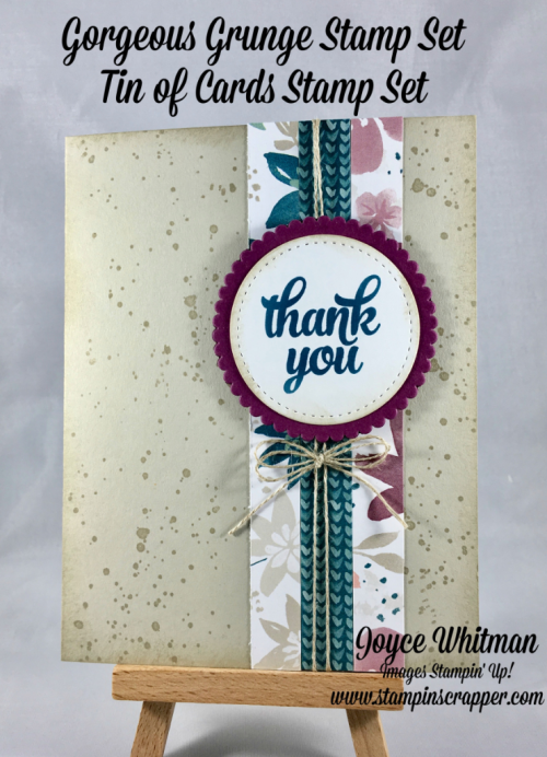 stampin up, Stampin Up! Gorgeous Grunge 130517, Tin of Cards #138946, Layering Circle Framelits #141705, Stitched Shapes Framelits # 145372, Blooms and Bliss DSP #141654, created by Stampin Scrapper, for more cards, gifts, ideas, scrapbooking and 3D projects go to stampinscrapper.com