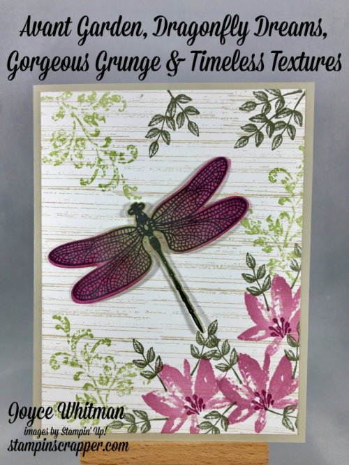 stampin up, Stampin' Up! AvantGarden #143272, DragonflyDreams #142924, GorgeousGrunge #130517, TimelessTextures #140517, 2017 Occasions, created by Stampin Scraper, for more cards, gifts, ideas, scrapbooking and 3D projects go to stampinscrapper.com
