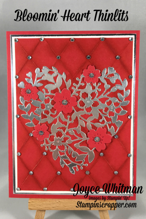 stampin up, Stampin' Up! Bloomin Heart Thinlits #140621, Silver Foil Sheets #135314, Rhinestones #119246, designed by Stampin Scrapper, for more cards, gifts, ideas, scrapbooking and 3D projects, go to stampinscrapper.com