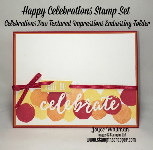 stampin up, Stampin' Up! Happy Celebrations #143012, Celebrations Due Textured Impressions Embossing Folders #142760,  Sending Love Ribbon Combo Pack #142737, created by Stampin Scrapper, for more cards, gifts, ideas, scrapbooking, 3D projects and more go to stampinscrapper.com