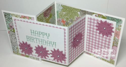 stampin up, Stampin' Up Window Shopping stamp set #143265, Blossom Bunch Punch #140612, Succulent Garden Designer Series Paper, creative fold card, 2017 Occasions Catalog, designed by Stampin Scrapper, for more cards, gifts, ideas, scrapbooking and 3D projects, go to stampinscrapper.com, Joyce Whitman