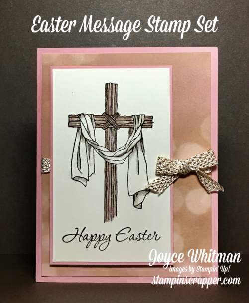stampin up, StaminUp !EasterMessage stamp set #142987, Falling In Love DSP #142788, 3/8 Metallic Ribbon Combo Pack, created by Stampin Scrapper, for more cards, gifts, ideas, scrapbooking and 3D projects go to stampinscrapper.com, Joyce Whitman