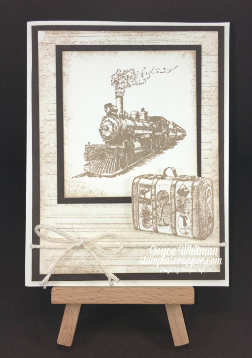 Stampin Up, Stampin' Up! Traveler stamp set #134513, Gorgeous Grunge stamp set #130517, Birthday Blossoms stamp set #139471, Thick Very Vanilla Baker's Twine #138411, created by Stampin Scrapper, for more cards, gifts, ideas, scrapbooking and 3D projects go to Stampinscrapper.com, Joyce Whitman