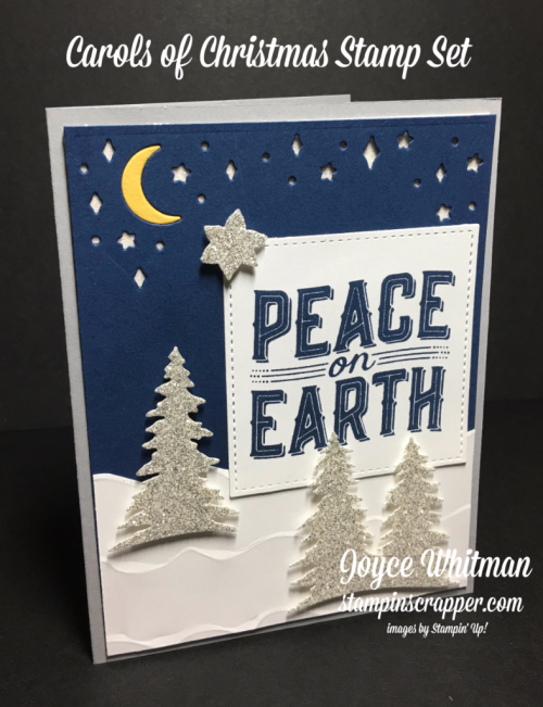 stampin up, Stampin' Up! Carols of Christmas stamp set #144804, Card Front Builder Framelits, Stitched Shapes Frameltis #145372, Ruffled Embossing Folder #143699, Silver and Dazzling Diamond Glitter Paper, created by Stampin Scrapper, for more cards, gifts, ideas, scrapbooking and 3D projects go to stampinscrapper.com, Joyce Whitman