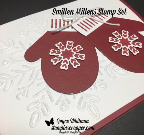 tampin up, Stampin' Up! Smitten Mittens stamp set #144931, Winter Wonder Textured Impressions Embossing Folder #144686, Many mittens Framelits #144672,  created by Stampin Scrapper, for more cards, gifts, ideas, scrapbooking and 3D projects, go to stampinscrapper.com, Joyce Whitman