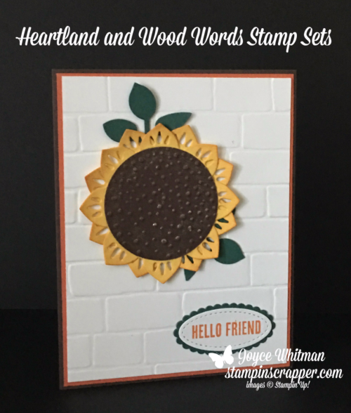 "Stampin Up, Stampin' Up! Wood Words #143928, Heartland stamp set #143892, Softly Falling Embossing Folder #139672, Brick Wall Embossing Folder #138288, Stitched Shapes Framelits #145372, Layering Oval Framelits #141706, 2"" Circle Punch #133782, Leaf Punch #144667, created by Stampin Scrapper, for more cards, gifts, ideas, scrapbooking and 3D projects go to stampinscrapper.com, Joyce Whitman"