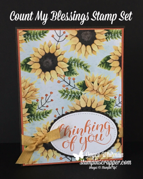 stampin up, Stampin' Up! Count My Blessings #144790, Painted Autumn Designer Series Paper #144613, Stitched Shapes Framelits # 145372, created by Stampin Scrapper, for more cards, gifts, ideas, scrapbooking or 3D projects go to stampinscrapper.com, Joyce Whitman