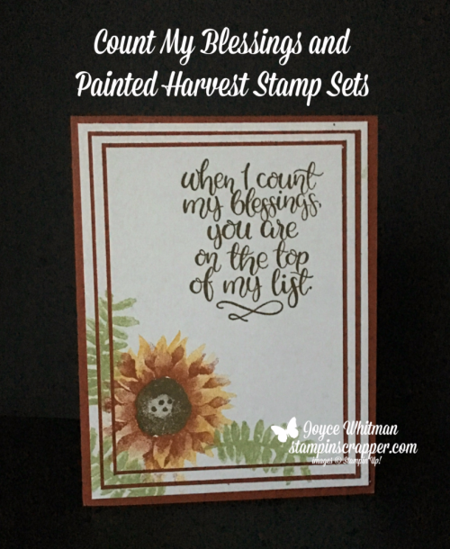 Stampin Up, Stampin' Up! Count My Blessings stamp set #144790, Painted Harvest stamp set #144783, created by Stampin Scrapper, for more cards, gifts, ideas, scrapbooking and 3D projects go to stampinscrapper.com, Joyce Whitman