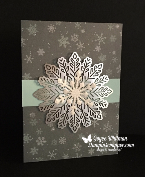 stampin up, Stampin Up Snowflake Sentiments stamp set #144820, Foil Snowflakes #144642, Dazzling Diamonds Glimmer Paper #135315, Christmas Around The World dSP #144629, created by Stampin Scrapper, for more cards, gifts, ideas, scrapbooking and 3D projects, go to stampinscrapper.com, Joyce Whitman