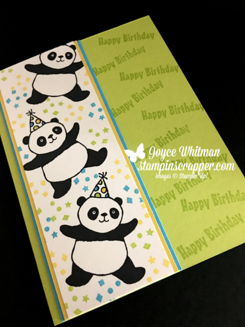 Stampin Up, Stampin' Up! Party Pandas stamp set #147221, created by Stampin Scrapper, for more cards, gifts, ideas, scrapbooking and 3D projects go to stampinscrapper.com, Joyce Whitman