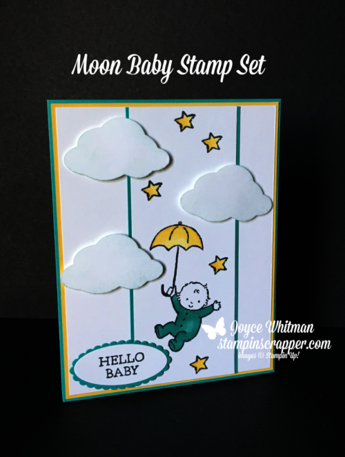 Stampin Up, Stampin' Up! Moon Baby stamp set #143085, created by Stampin Scrapper, for more cards, gifts, ideas, scrapbooking and 3D projects go to stampinscrapper.com, Joyce Whitman