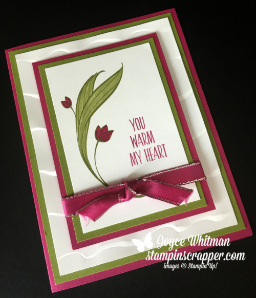 """Stampin Up, Stampin' Up! Lovely Wishes stamp set #145924, Ruffled Embossing Folder #143699, Berry Burst 3/8"""" Metallic Edge ribbon #145489, created by Stampin Scrapper, for more cards, gifts, ideas, scrapbooking and 3D projects go to stampinscrapper.com, Joyce Whitman"""