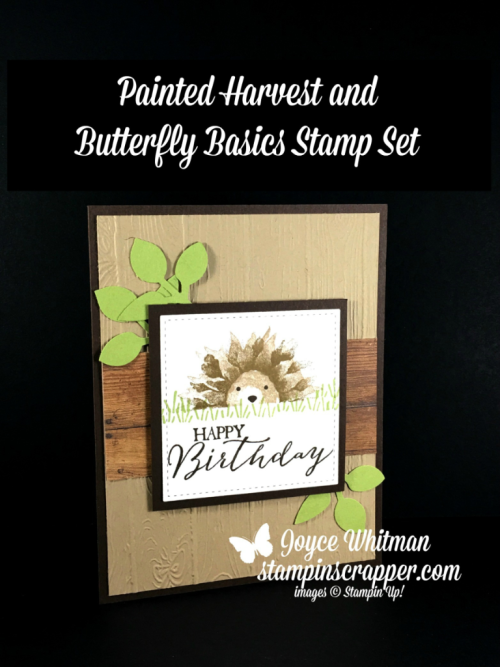 Stampin Up, Stampin Up Painted Harvest #144783, A Little Wild #144344, Foxy Friends #141549, Butterfly Basics #137154, Stitched Shapes Framelits #145372, Leaf Punch #144667, Pinewood Planks embossing folder #143708, created by Stampin Scrapper, for more cards, gifts, ideas, scrapbooking and 3D projects go to stampinscrapper.com, Joyce Whitman