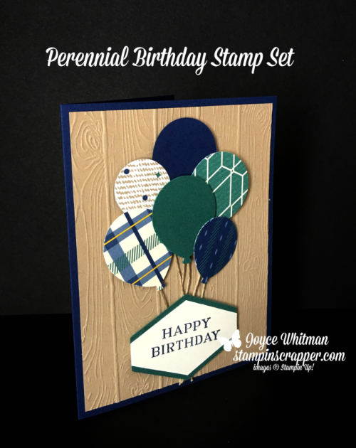 Stampin Up, Stampin' Up! Perennial Birthday stamp set #145760, True Gentleman designer series paper #145593, Tailored Tag Punch #145667, created by Stampin Scrapper, for more cards, gifts, ideas, scrapbooking and 3D projects go to stampinscrapper.com, Joyce Whitman