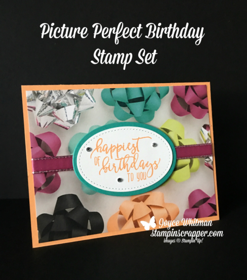 Stampin Up, Stampin' Up! Picture Perfect Birthday stamp set #145560, Picture Perfect DSP #145559, Layering Oval Framelits #141706, Stitched Shapes Framelits #145372, created by Stampin Scrapper, for more cards, gifts, ideas, scrapbooking and 3D projects go to stampinscrapper.com, Joyce Whitman