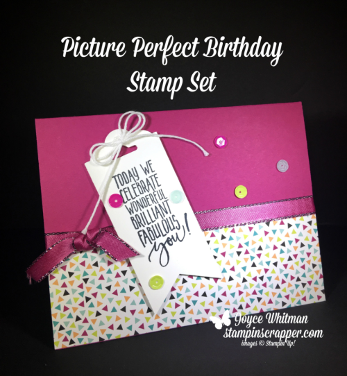 Stampin Up, Stampin' Up! Picture Perfect Birthday stamp set #145519, Picture Perfect Party DSP #145559, Scalloped Tag Topper Punch #133324, Banner Triple Punch #138292, created by Stampin Scrapper, for more cards, gifts, ideas, scrapbooking and 3D projects go to stampinscrapper.com, Joyce Whitman