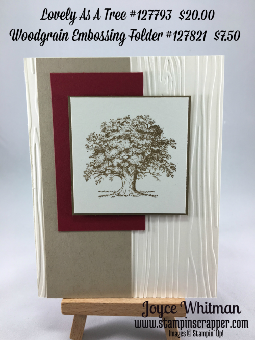 stampin up, Stampin' Up Lovely As A Tree #127793, Woodgrain Embossing Folder #127821, created by Stampin Scrapper, for more card and gift ideas go to stampinscrapper.com