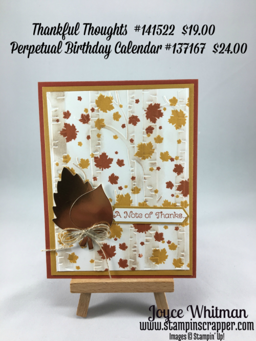 Stampin up, Stampin! Up! Thankful Thoughts #141522, Stampin' Up! Perpetual Birthday Calendar #137167, Woodland Embossing folder #139673, created by Stampin Scrapper, for more cards and gift ideas go to stampinscrapper.com