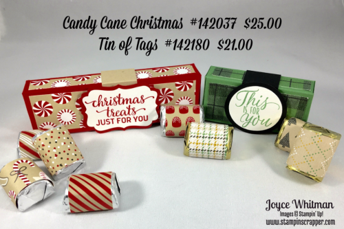 "stampin up, Stampin' Up! Candy Cane Christmas #142037, Tin of Tags #142180, Candy Cane Lane DSP #141981, Warmth and Cheer DSP stack #141991, Decorative Label #120907, 1 1/2"" circle punch #138299, 1 3/4"" circle punch #119850, made by stampin scrapper, if you would like more ideas for cards, scrapbooking and gifts go to stampinscrapper.com"