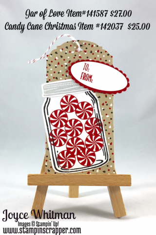 stampin up, Stampin' Up! Hang Your Stocking stamp set #142114, Jar of Love Bundle #142342, Jar of Love stamp set #141587, Everyday Jar Framelits #139665, Candy Cane Lane Designer Series Paper #141981, Layering Ovals Framelits Dies #141706, created by Stampin Scrapper, for more tags, gifts, 3 D projects, cards, scrapbooking go to stampinscrapper.com