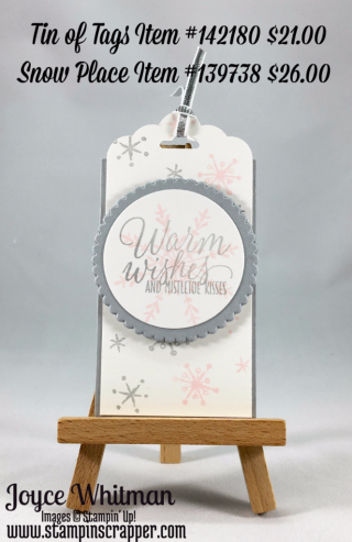 stampin up, Stampin' Up! Tin of Tags stamp set #142180, Snow Place Stamp Set #139738, Layering Circle Framelits Dies #141705, created by Stampin Scrapper, for more tags, gifts, 3 D Projects, cards, scrapbooking go to stampinscrapper.com