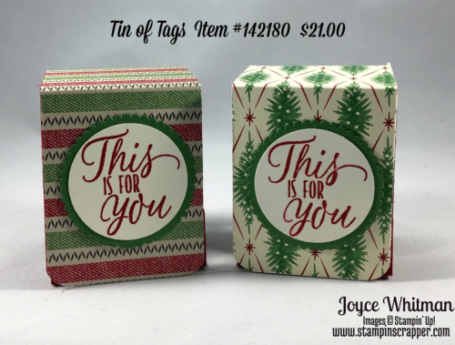 "stampin up, Stampin' Up Tin of Tags # 142180, Warmth and Cheer Designer Series Paper #141991, This Christmas Designer Series Paper #141628, 1 1/2"" Circle Punch #138299, Layering Circle Framelits #141705. created by Stampin Scrapper, for more gifts, cards, scrapbooking and 3D projects, go to  Stampinscrapper.com"