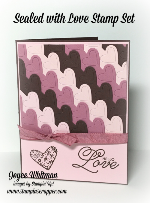 "stampin up, Stampin' Up! Sealed With Love #142815, Love Notes Framelits #142752, Sweet Sugarplum 3/8"" Ruched Ribbon, created by Stampin Scrapper, for more cards, gifts, ideas, scrapbooking and 3D projects, go to stampinscrapper.com"