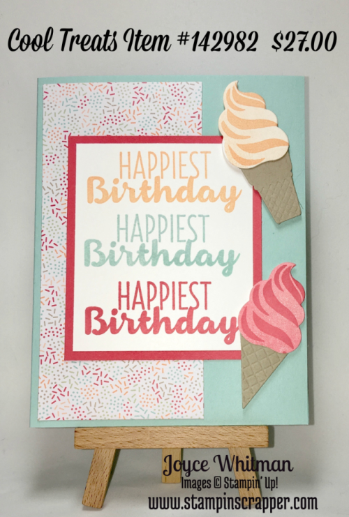 stampin up, Stampin' Up! Cool Treats #142982, Frozen Treats Framelits #142756, Tasty Treats Specialty Designer Series Paper #142770, Occasions 2017, Birthday card, created by Stampin Scrapper, for more cards, gifts, ideas, scrapbooking and 3D projects go to stampinscrapper.com