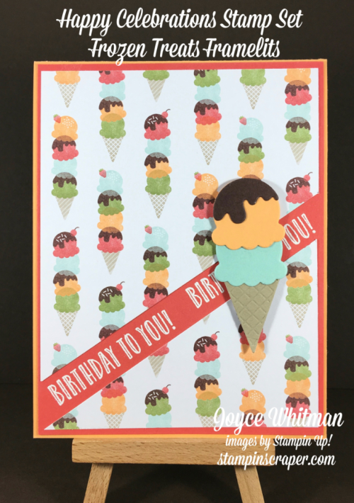 stampin up, Stampin' Up! Happy Celebrations ##143012, Frozen Treats Framelits Dies #142756, Tasty Treats Specialty Designer Paper #142770, Tasty Treats Designer  Washi Tape #142773, created by Stampin Scrapper, for more cards, gifts, ideas, scrapbooking and 3D projects go to stampinscraper.com