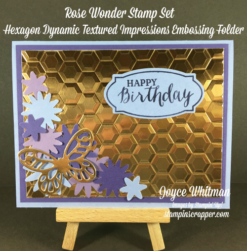 stampin up, Stampin' Up! Rose Wonder #140697, Hexagons Dynamic Textured Impressions Embossing Folder #143231, Rose Garden Framelits #140619, Bold Butterfly Framelits #138135, Blossom Punch  #140612,  designed by Stampin Scrapper, for more cards, gifts, ideas, scrapbooking and 3 D projects go to Stampinscrapper.com