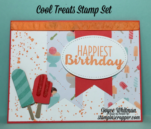 "stampin up, Stampin' Up! Cool Treats stamp set #142982, Gorgeous Grunge #130517, Tasty Treats DSP #142770, Frozen Treats Framelits Dies #142756, Stitched Framelits #145372, Banner Triple Punch #138292, Wink of Stella #1418973/8"" Ruched Peekaboo Peach Ribbon #141427, designed by Stampin Scrapper, for more cards, gifts, ideas, scrapbooking and 3D projects go to stsampinscrapper.com, Joyce Whitman"
