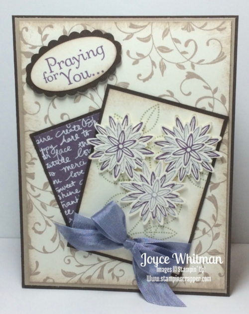 stampin up, Stampin' Up! Grateful Bunch #140691, Thoughts and Prayers #127805, First Sight, Wisteria Wonder Ribbon, Large Oval punch, Scallop oval punch, Grateful Bunch Punch #140612, created by Stampin Scrapper, for more ideas for cards, gifts, scrapbooking and 3D Projects go to stampinscrapper.com, Joyce Whitman