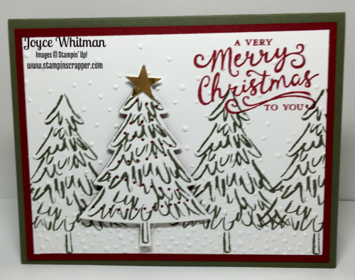"""stampin up, Stampin"""" Up Peaceful Pines #139728, Reason for the Season #139730, Perfect Pines Framelits, Softly Falling Embossing Folder #139672, created by Stampin Scrapper, for more cards, gifts, ideas, scrapbooking and 3D Projects go to stampinscrapper.com, Joyce Whitman"""