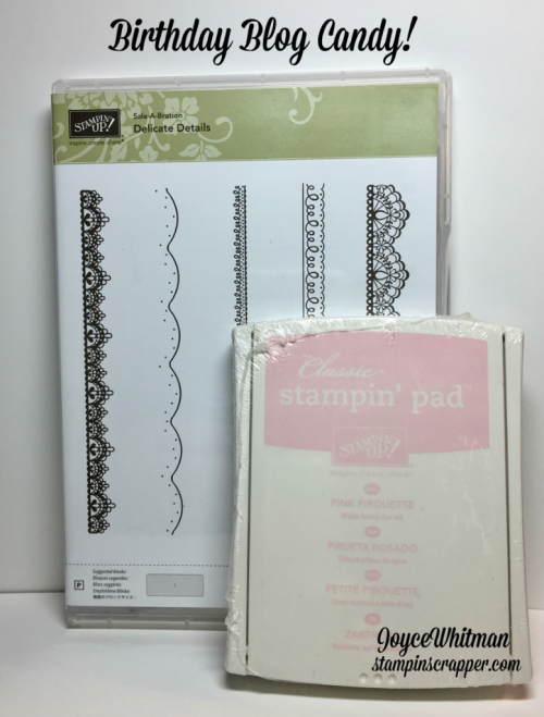 Stampin up, Stampin' Up! Delicate Details, Sale-A-Bration 2017, Birthday blog candy, Stampin Scrapper, for more cards, gifts, ideas, scrapbooking and 3D projects, go to stampinscrapper.com, Joyce Whitman