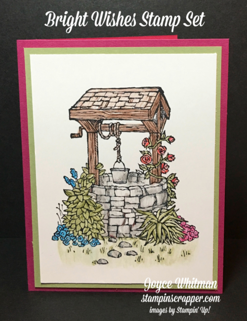 stampin up, Stampin' Up! Bright wishes #143827, Watercolor Pencils #141709, Blender Pens #102845, created by Stampin Scrapper, for more cards, gifts, ideas, scrapbooking and 3D projects, go to stampinscrapper.com, Joyce Whitman