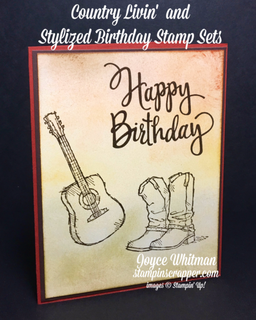 Stampin Up, stampin' Up! Country Livin' stamp set #141925, Stylized Birthday stamp set #141828, created by Stampin Scrapper, for more cards, gifts, ideas, scrapbooking and 3D projects, go to stampinscrapper.com, Joyce Whitman