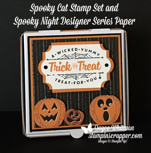 Stampin Up, Stampin' Up! Spooky Fun stamp set #144749, Painted Harvest stamp set #144783, Mini Pizza Boxes #144645, Everyday Label Punch #144668, created by Stampin Scrapper, for more cards, gifts, ideas, scrapbooking and 3D projects, go to stampinscrapper.com, Joyce Whitman