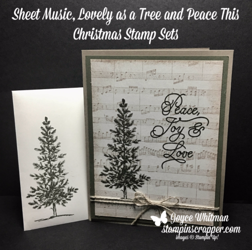 stampin up, Stampin' Up! Sheet Music background stamp #143970, Lovely As A Tree stamp set #127793, Peace This Christmas stamp set #141570, created by Stampin Scrapper, for more cards, gifts, ideas, scrapbooking and 3D projects go to stampinscrapper.com