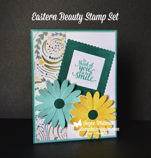 "Stampin Up, Stampin' Up! Eastern Beauty stamp set #143675, Layering Square Framelits #141708, Stitched Shapes Framelits #145372, Daisy Punch #143713, 1/2"" circle Punch #119869, created by Stampin Scrapper, for more cards, gifts, ideas, scrapbooking and 3D projects go to stampinscrapper.com, Joyce Whitman"