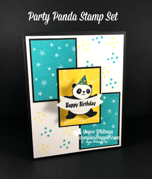 Stampin Up, Stampin' Up! Party Pandas #147221, Bubbles & Fizz Designer Series Paper #147244, 2018 Sale-A-Bration, created by Stampin Scrapper, for more cards, gifts, ideas, scrapbooking and 3D projects go to stampinscrapper.com, Joyce Whitman