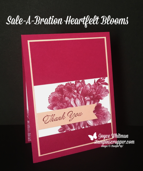 Stampin Up, Stampin' Up! Heartfelt Blooms stamp set #147202, Sale-A-Bration 2018, created by Stampin Scrapper, for more cards, gifts, ideas, scrapbooking and 3D projects go to stampinscrapper.com, Joyce Whitman