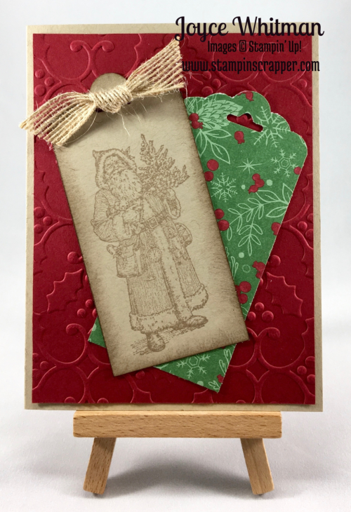 stampin up, Stampin' Up! Father Christmas stamp set item #142122, Stampin' Up! Hang Your Stocking item #142114, Stampin up Holly embossing folder item #141634, created by Stampin Scrapper, for more cards and projects go to stampinscrapper.com
