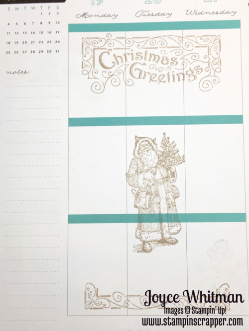 stampin up, Stampin' Up! Father Christmas #142125, Watercolor Pencils #141709, Happy Planner, created by Stampin Scrapper, for more ideas, cards, gifts, 3 D projects, scrapbooking go to stampinscrapper.com