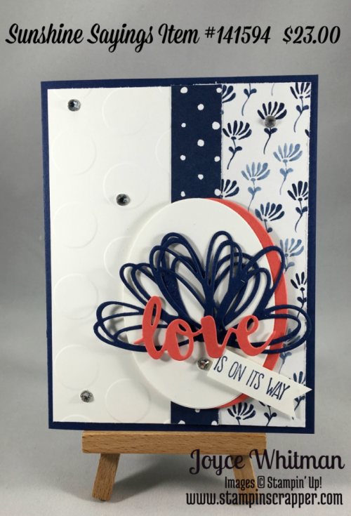 stampin up, Stampin Up! Sunshine Sayings #141594, Floral Boutique Designer Series Paper #141663. Layering Oval  Framelits #141706, Sunshine Wishes Thinlits #141489, Large Polka Dot Embossing Folder #133737, created by Stampin Scraper, for more ideas, cards, gifts, scrapbooking go to stampinscrapper.com